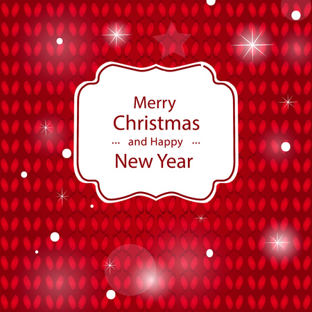 Congratulation of a Merry Christmas on a red knitted background. Knitted Christmas background. With text for congratulations.