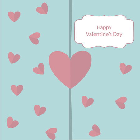 Greeting card with Valentine's Day with a gently green background and a pink heart. Your place for text. Vector Illustration