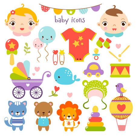 drawing pins: Cute cartoon baby set. Baby icons set. Illustration