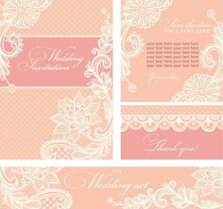 Set of wedding invitations and announcements with vintage lace background. Illustration