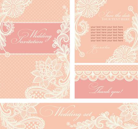 huwelijk: Set van de bruiloft uitnodigingen en aankondigingen met vintage kant achtergrond.