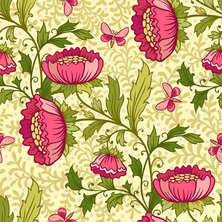 butterfly flower: Floral pattern with flowers and butterflies