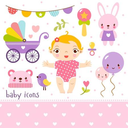 baby stroller: Cute cartoon baby girl set.
