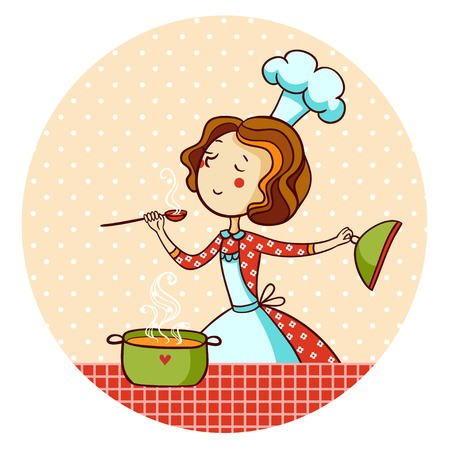 cook cartoon: Woman cooking soup. Housewife cooking dinner.