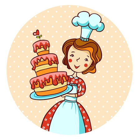 stereotypical: Woman with cake in vector.  Housewife cooking. Illustration