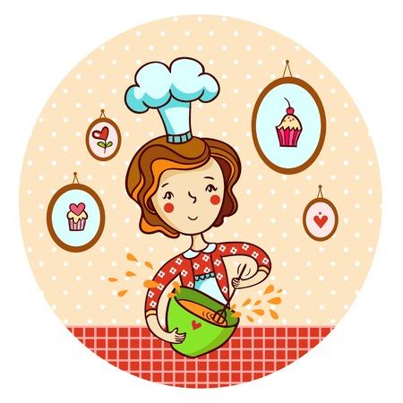 ベクトルの女性の泡立て器生地。主婦の料理します。  イラスト・ベクター素材