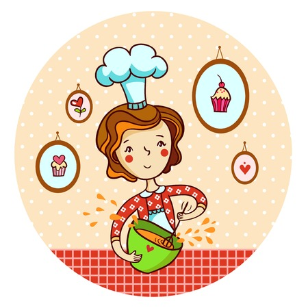 chef illustration: woman whisk dough in vector. Housewife cooking.