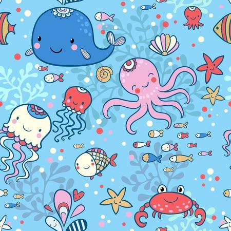 Whale, octopus, jellyfish, fish, crab, starfishe. Vector