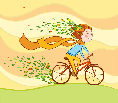cartoon smile: Girl rides a bicycle.