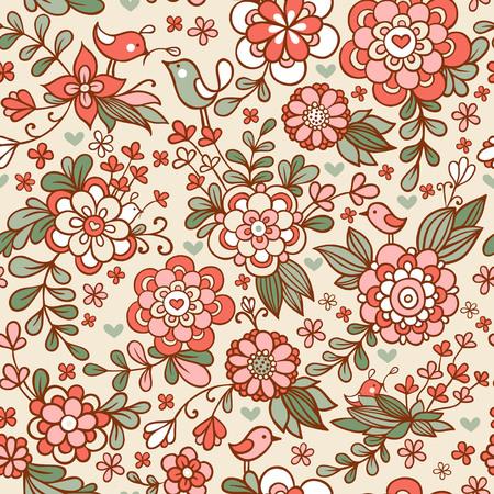 Naadloze textuur met bloemen en vogels.