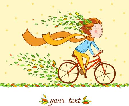 cartoon wind: Girl rides a bicycle.