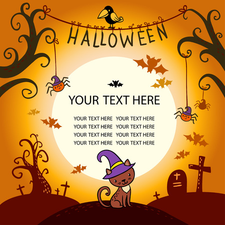 Halloween border for design in a children's style.