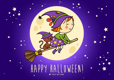 cartoon halloween: Halloween vector card with funny witch and her cat on a broomstick flying in front of the moon . Bright holiday background in vector.