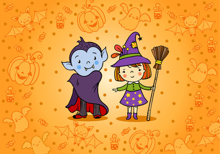 cartoon halloween: Halloween card with cartoon vampire and witch. Illustration