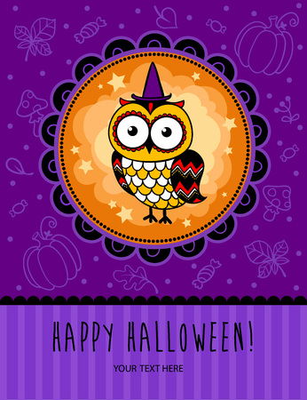 baby animals: Halloween concept card in cartoon style in pink colors.