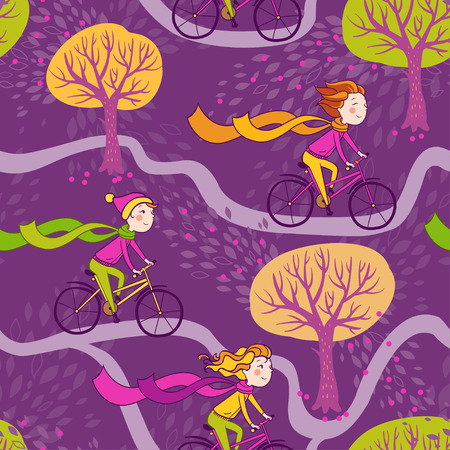healthy path: Seamless pattern with girls and bikes.Seamless autumn texture with trees.