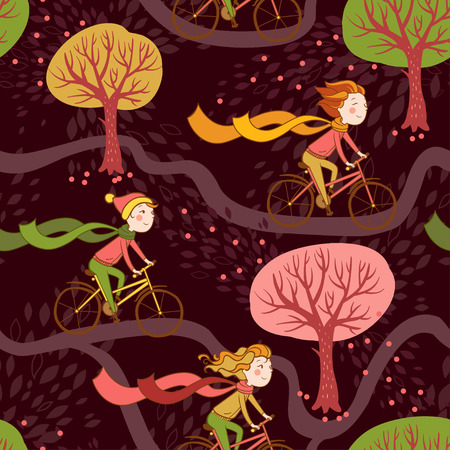 ridding: Seamless pattern with girls and bikes.Seamless autumn texture with trees.
