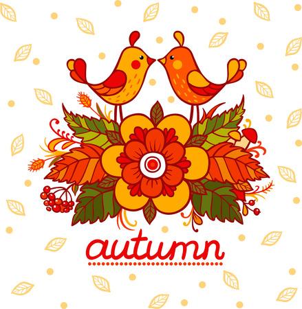 designe: Vector cute autumn illustration. Birds. Autumn designe.