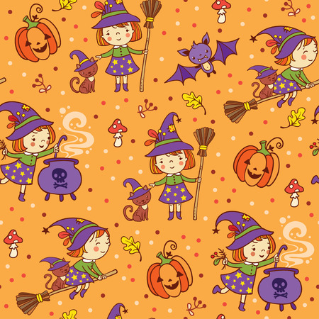 Cartoon Halloween seamless pattern with funny witches, pumpkin, cat, bat, amanita.