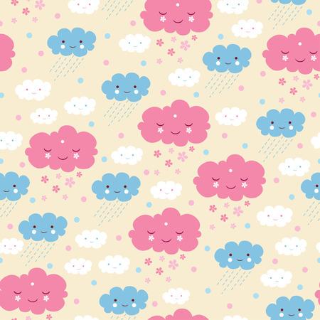 nubes caricatura: Modelo inconsútil de la historieta. nubes. fondo de lluvias. Vectores