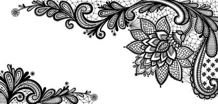 Alte Spitzen Hintergrund, Zierpflanzen. Blumenhintergrund. Illustration