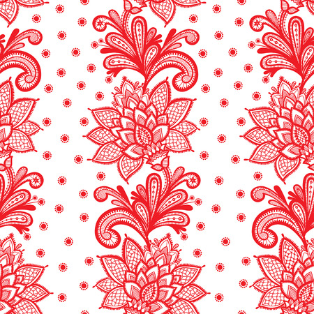 White Seamless Lace Floral pattern on White Background. Stock Illustratie