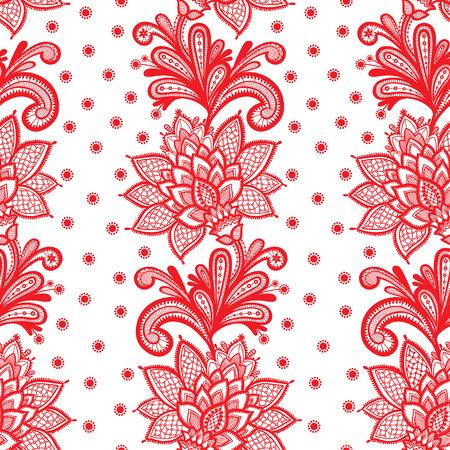 Witte Naadloze Kant Bloemen patroon op een witte achtergrond.