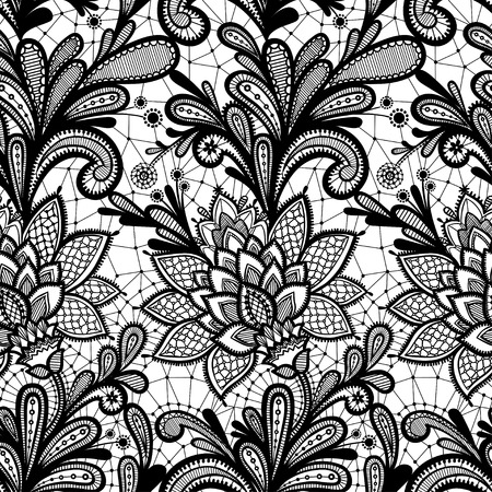retro seamless pattern: Vintage invitation. Grunge background with lace ornament. Black and White.