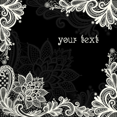 vintage lace: Black and white lace vector design.