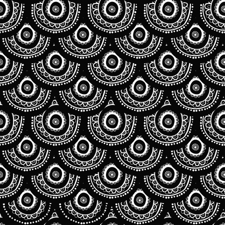 abstract black: Indian ornament, kaleidoscopic flora pattern, mandala. range, circle, round, disk. nice abstract seamless pattern black and white.