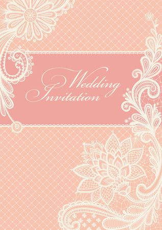 pink wedding: Wedding invitations and announcements with vintage lace background. Illustration