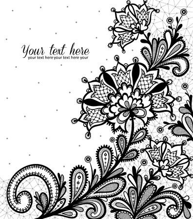 dibujos de flores: Diseño de encaje vector de Negro.