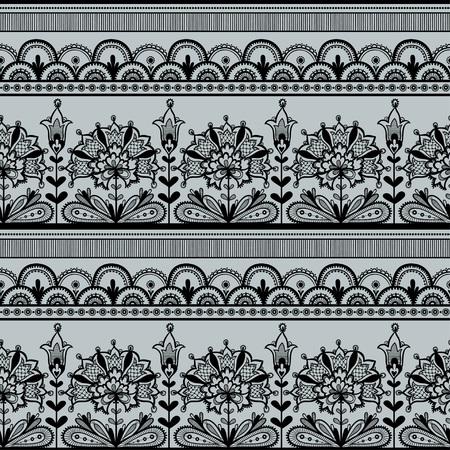 schwarz: Nahtlose Schwarz-Spitze-Muster. Illustration