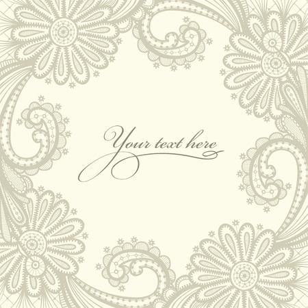 Oud kant achtergrond, sierbloemen. Bloemen frame. Stock Illustratie