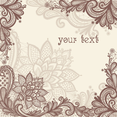 brown: Vintage lace vector design.