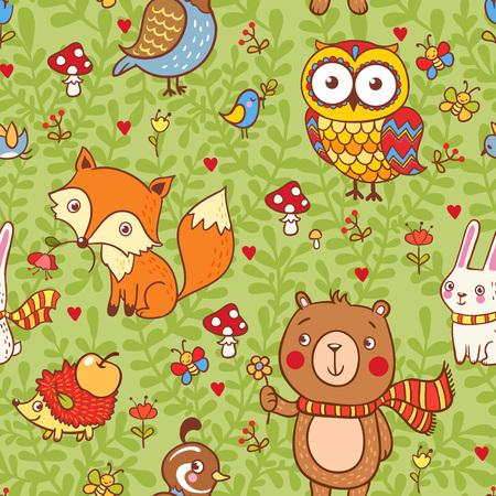 zvířata: Vektorové ilustrace s divokými zvířaty. Ilustrace