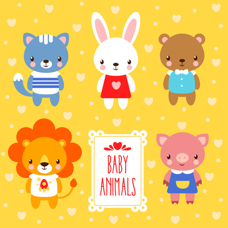 young animal: Vector illustration of baby animals.