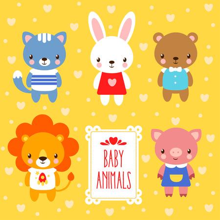 cute animals: Vector illustration of baby animals.
