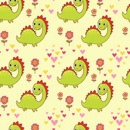 baby dragon: Vector illustration of a dinosaur and flowers. Illustration