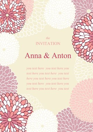 mother's day: Vector Wedding invitation with flowers.