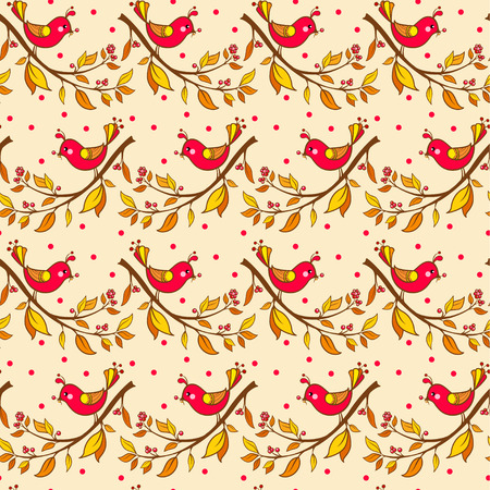 red berries: Seamless floral pattern with flowers and birds. Illustration