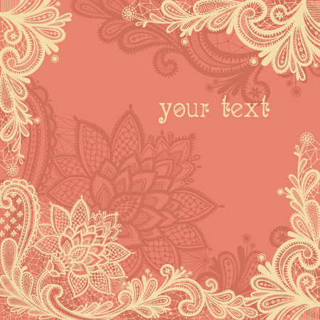 vintage retro frame: Wedding design with lace in retro style.