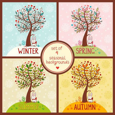 collection: Vector illustration on the theme of the seasons.