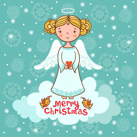 christmas angels: Christmas vector illustration on the theme of the new year.