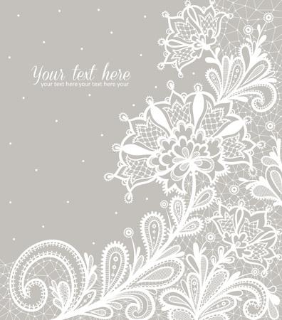 motif floral: Dentelle noire sur un fond blanc conception vecteur de fond.