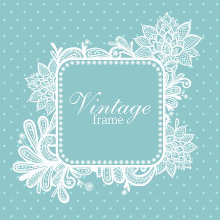 feminine floral flower: Wedding design with lace in retro style.