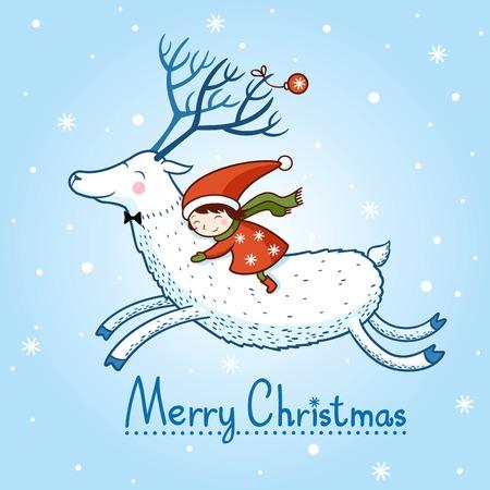 女の子とクリスマスの鹿と鹿 Christmas.card