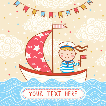 ship with gift: Vector illustration of a frame for your text. Illustration