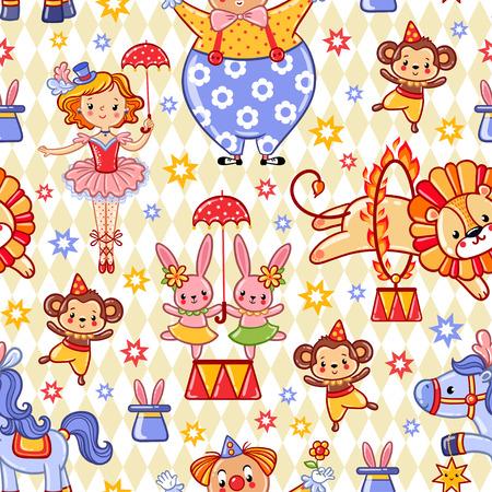 tanzen cartoon: Nahtlose Kinder Zirkus Hintergrund Muster im Vektor. Illustration