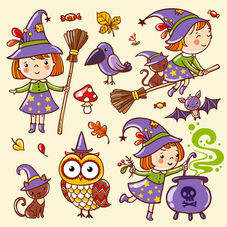 witch on broom: Cartoon Halloween seamless pattern with funny witches.